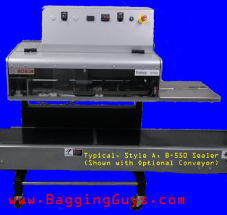 Typical Style A B-550 Sealer (shown with Optional Bagging Conveyor)